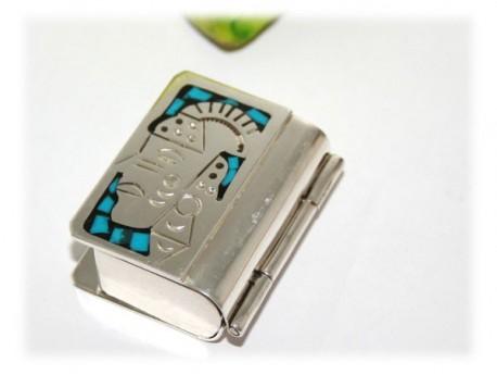Bijou Boite à pilules Turquoise Aztèque Maya Argent Turquoise