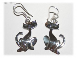 Boucles d'Oreilles Chats Argent