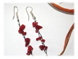 Boucles d'Oreilles Argent - Boucles d'oreilles corail