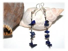 Boucles d'Oreilles en Lapis-Lazuli et Perles Argent