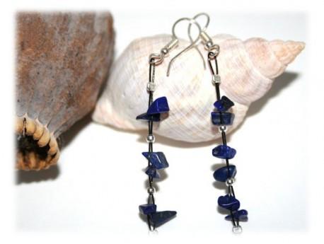 Boucles d'Oreilles en Lapis-Lazuli et Perles Argent Lapis-lazuli