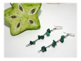 Boucles d'Oreilles - Boucles d'oreilles malachite et perles