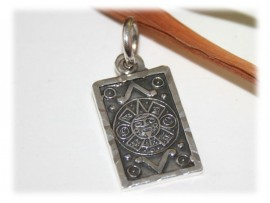 Pendentif Calendrier Aztèque Maya Argent