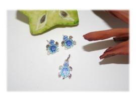 Parure de bijoux Tortue Emaillée Argent