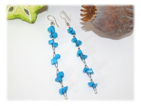 Boucles Longues Turquoise Argent Turquoise