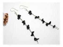Boucles d'Oreilles Pendantes Onyx et Argent