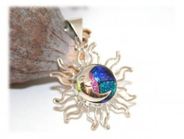 Pendentif Soleil Lune Bleu Rose Argent