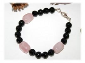 Bracelet, Onyx Quartz Rose Argent