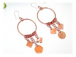 Boucles d'Oreilles Laiton - Boucles oreilles pendantes cuivre