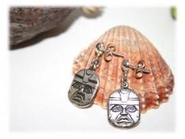 Boucles d'Oreilles Masque Aztèque Argent