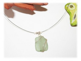 Collier Verre Seaglass - Collier verre dépoli uniqueen