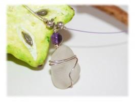 Collier Verre Seaglass - Collier verre dépoli violet