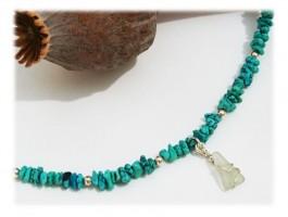 Bijoux Recyclage Ecologie - Chaine de pied turquoise