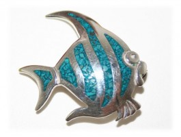 Broches  Argent - Broche poisson turqoise