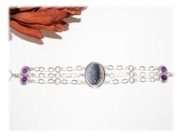 Bracelet Argent - Bracelet agate montana améthyste