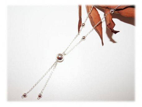 Collier Long Perles Argent