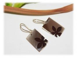 Boucles d'oreilles Fleur Bois Exotique et Argent Massif