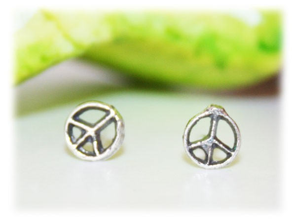 Boucles d 39 oreilles peace and love 5 mm argent boucles d - Boucle d oreille peace and love ...