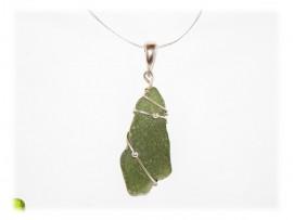 Pendentif Verre Dépoli Seaglass Vert