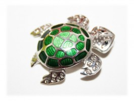 Broche Pendentif Tortue Email Argent 925