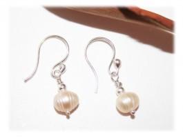 Boucles d'oreilles Perles Nacre Naturelles Argent