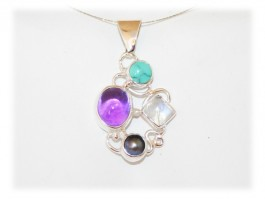 Pendentif Amethyste Turquoise Moon Stone Nacre Argent