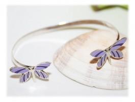 Bracelet Papillon Enfant Violet Argent Email