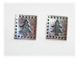 Boucles d'oreilles Sapin de Noël Argent