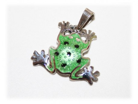 Pendentif Grenouille Email Argent Massif