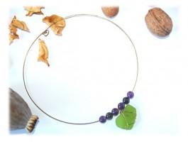 Collier Argent - Collier amethyste coeur de verre