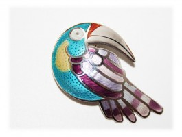 Pendentif Broche Toucan Oiseau Argent Massif