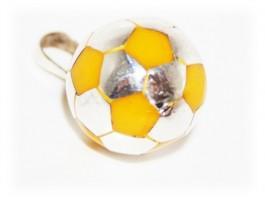 Pendentif Ballon Foot Jaune Argent
